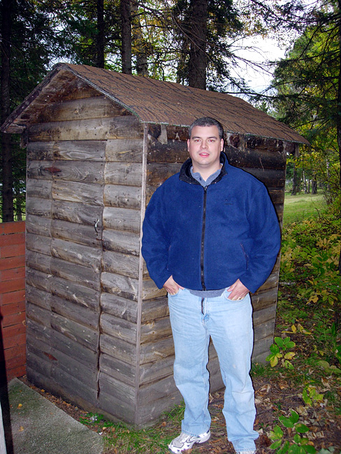 Joe at the outhouse